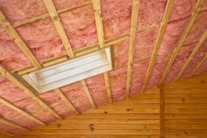 A house attic with insulation
